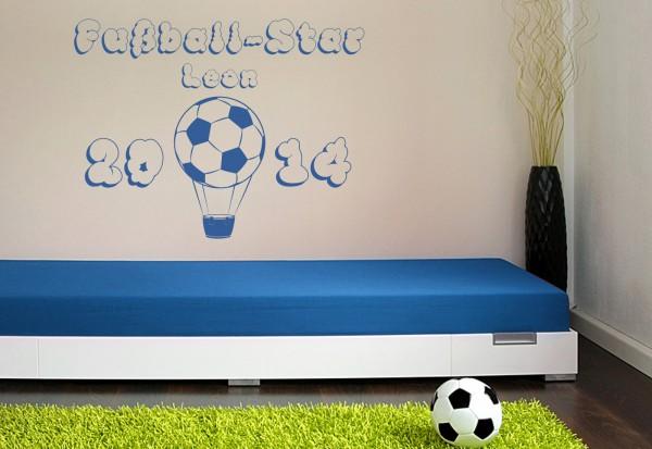 "Wunschname-Wandtattoo Kinderzimmer ""Fußball Star"""