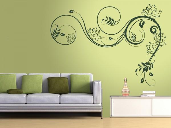 """XXL-Wandtattoo """"Blumenranke mit Wasserlilien"""""""