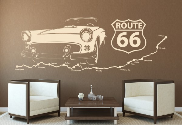 """Wandtattoo """"Vintage Route 66"""""""