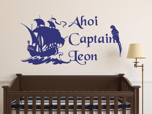 "Wunschname-Wandtattoo Kinderzimmer ""Ahoi Captain"""