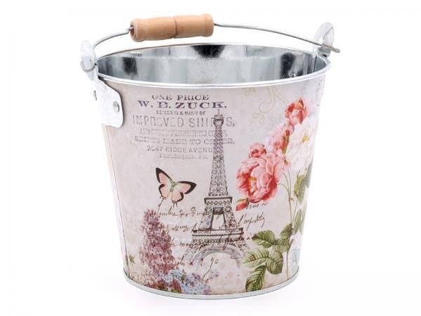 Metalleimer-Paris D=13cm - Deko oder als Blumentopf Höhe 11,5cm (oh.Blumen)