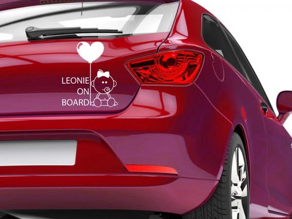 "Autoaufkleber mit Wunschnamen ""Baby Mädchen mit Luftballon on Board"""