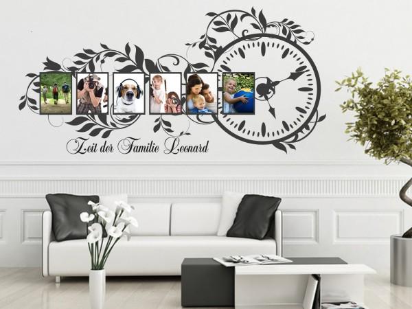 """Wunschname+Foto-Tattoo Wohnzimmer """"Zeit der Familie"""""""