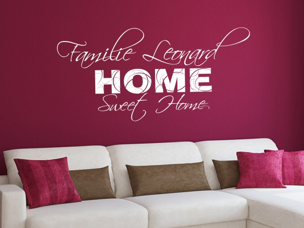 "Wunschname-Wandtattoo Wohnzimmer ""Familie Wunschname Home Sweet Home"""""