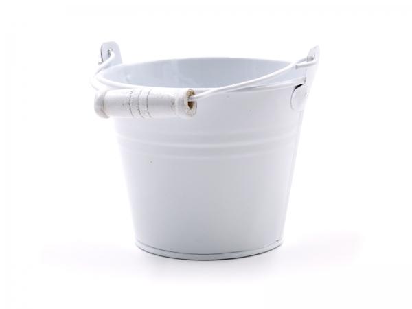 Metalleimer Weiss D=10cm - Deko oder als Blumentopf Höhe 8cm