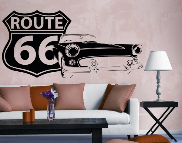 "Wandtattoo ""Route66 Oldtimer"""