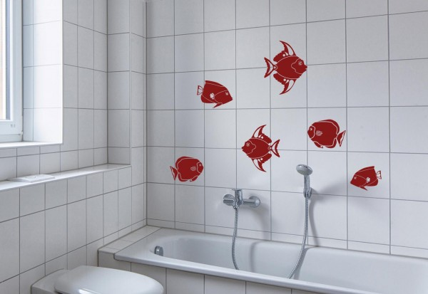 "Wandtattoo Bad & WC Wellness ""Fische"""