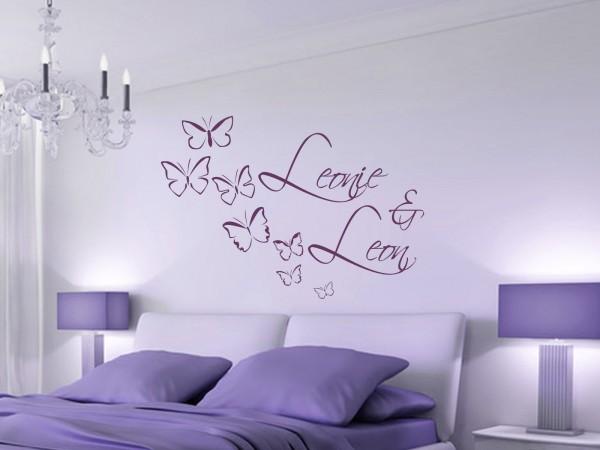 """Wunschname-Wandtattoo Schlafzimmer """"Schmetterlinge"""""""""""