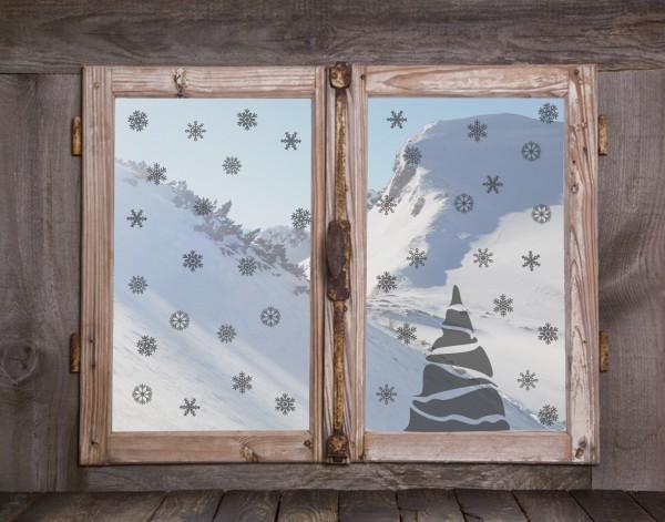 """Fenstertattoos Set """"Tannenbaum und Schneeflocken"""""""