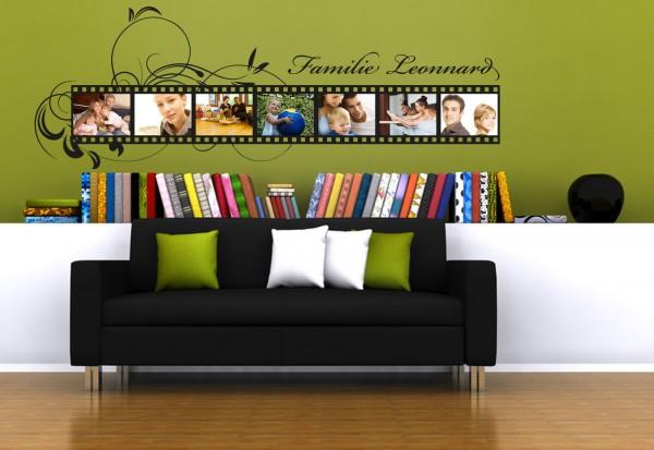 """Wunschname-Wandtattoo Wohnzimmer """"Filmstreifen"""""""