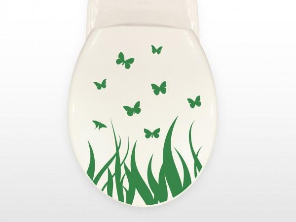 """Wandtattoo Bad & WC """"Toilettendeckel mit Schmetterlingen im Gras"""""""
