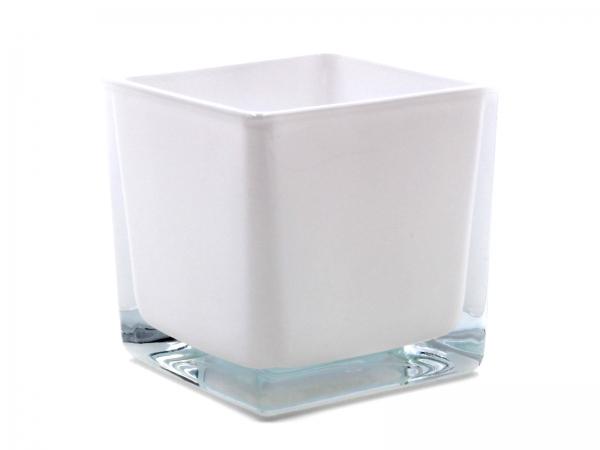 Moderner Glaswürfel Innen weiß Teelicht 8 x 8 x 8cm