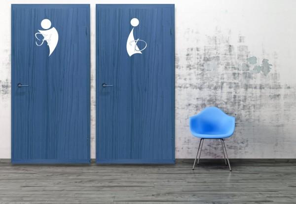 """Wandtattoo Toilettentür """"M/W Swing"""""""
