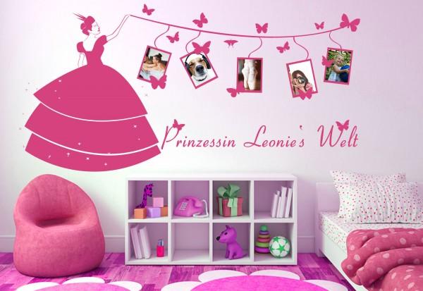 """Wunschname+Foto-Tattoo Kinderzimmer """"Prinzessinnen Welt"""""""