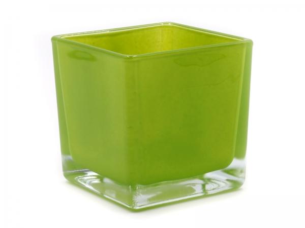 Moderner Glaswürfel Innen grün Teelicht 8 x 8 x 8cm