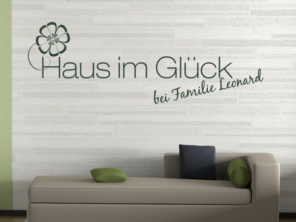 """Wunschname-Wandtattoo Wohnzimmer """"Haus im Glück bei Familie Wunschname"""""""