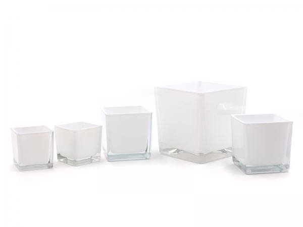 Moderner Glaswürfel Innen weiß Teelicht verschiedene Größen SET