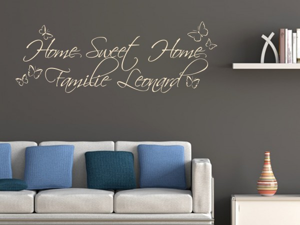 """Wunschname-Wandtattoo Wohnzimmer """"Home Sweet Home Familie Wunschname"""""""""""