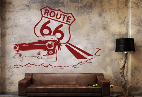 "Wandtattoo ""Vintage Car Route 66 Collage"""