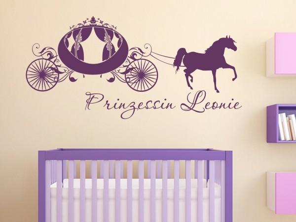 """Wunschname-Wandtattoo Kinderzimmer """"Prinzessinnen Kutsche"""""""