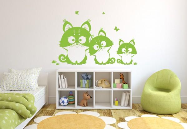 """Wandtattoo Kinderzimmer """"Katzen Familie"""""""