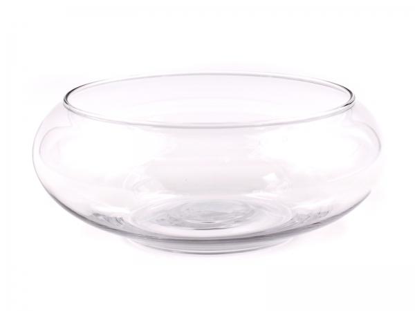 Moderne Glasschale gewölbt und klar D19,5cm, H7,5