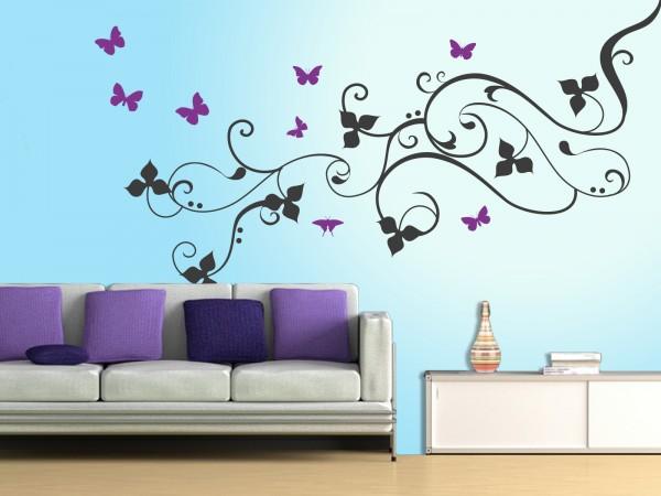 """XXL-Wandtattoo """"Blütenranke mit Schmetterlingen 2 farbig"""""""