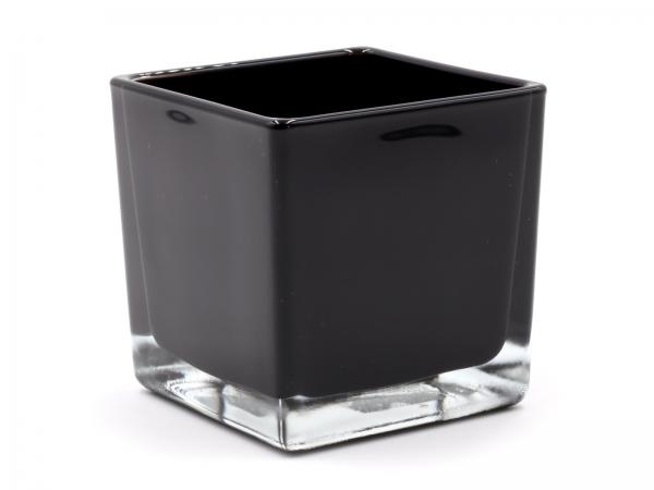 Moderner Glaswürfel Innen schwarz Teelicht 8 x 8 x 8cm