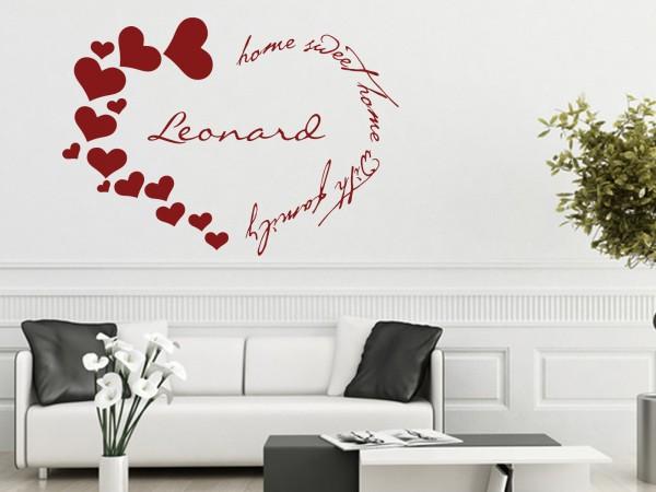 "Wunschname-Wandtattoo Schlafzimmer ""Home Sweet Home Herz"""