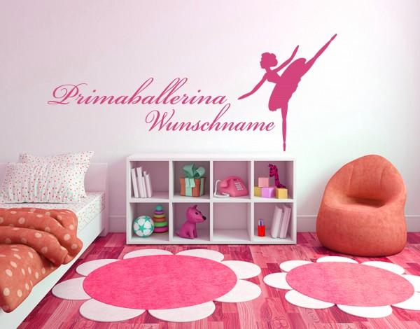 """Wandtattoo Kinderzimmer """"Prima Ballerina mit Wunschnamen"""""""