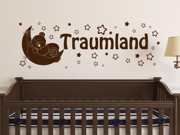 """Wandtattoo Kinderzimmer mit Mond und Sternen """"Traumland"""""""