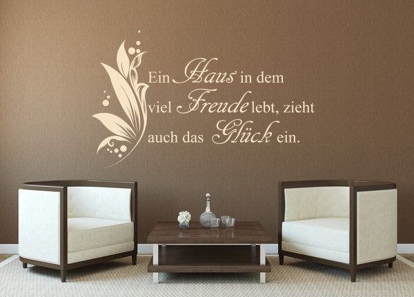 """Wandtattoo Wohnzimmer """"Haus, Freude, Glück"""""""