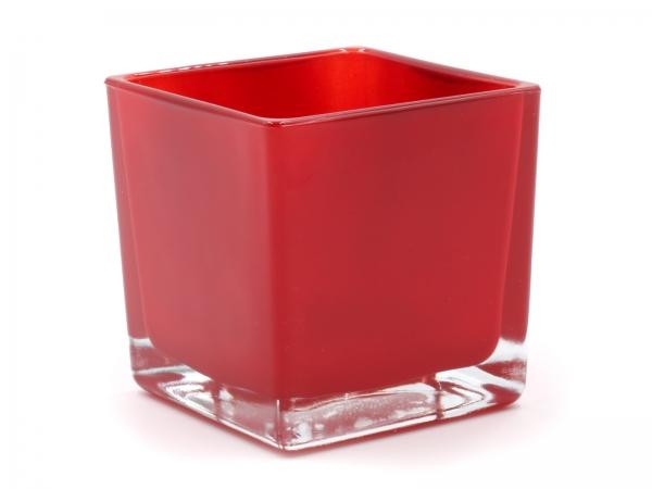 Moderner Glaswürfel Innen rot Teelicht 8 x 8 x 8cm