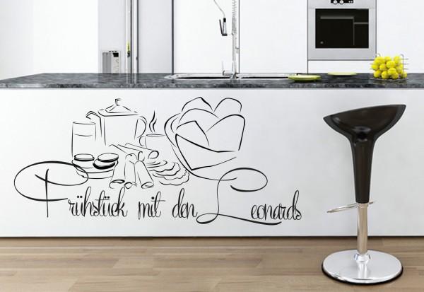 """Wunschname-Wandtattoo Küche """"Familien Frühstück"""""""