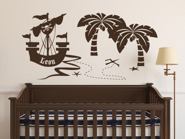 "Wunschname-Wandtattoo Kinderzimmer ""Piratenschiff am Strand"""