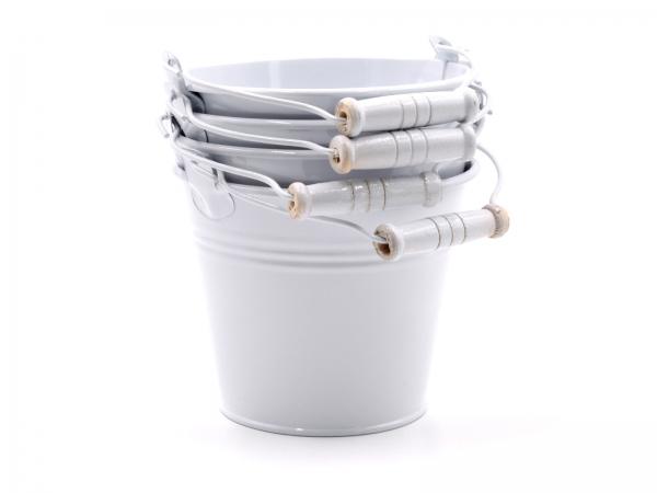 Metalleimer-SET L Weiss D=12cm - Deko oder als Blumentopf Höhe 10cm