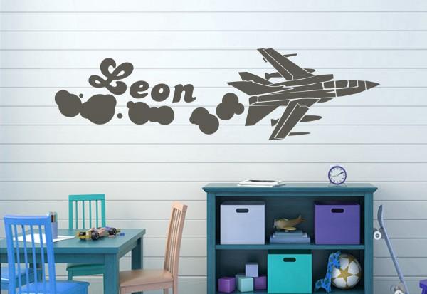 "Wunschname-Wandtattoo Kinderzimmer ""Flugzeug"""