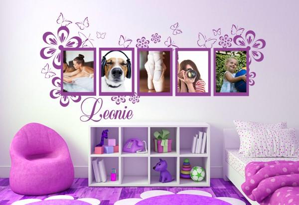 "Wunschname+Foto-Tattoo Kinderzimmer ""Blumenrahmen"""