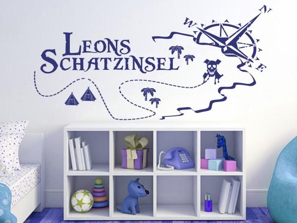 """Wunschname-Wandtattoo Kinderzimmer """"Schatzinsel"""""""