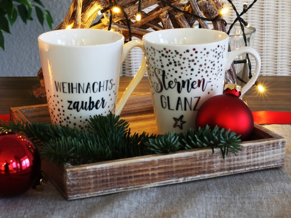 Tassen-Set Weihnachten (Tassen D9,5xH11cm weiss-gold)