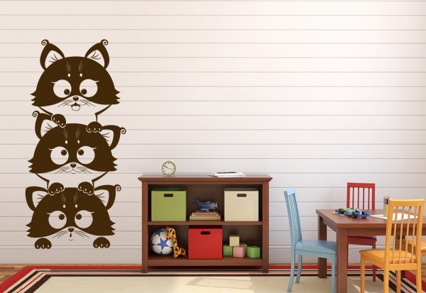 "Wandtattoo Kinderzimmer ""Katzen im Stapel"""