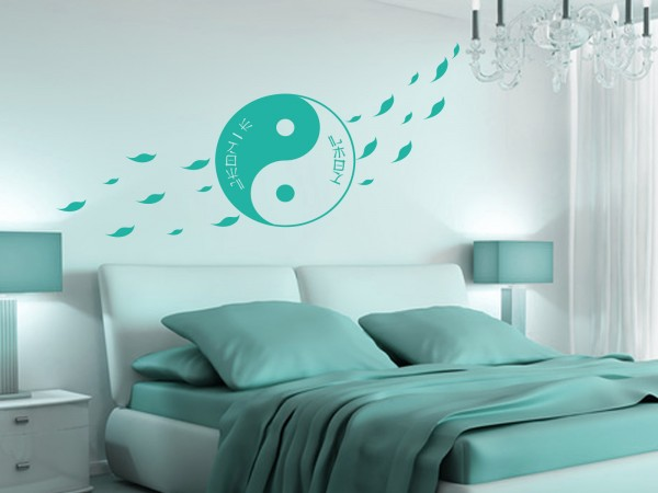 "Wunschname-Wandtattoo Schlafzimmer ""YingYang"""