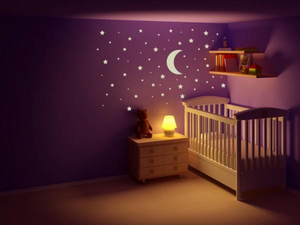 """Wandtattoo - Leuchtmotive Kinderzimmer """"Mond und Sterne"""""""