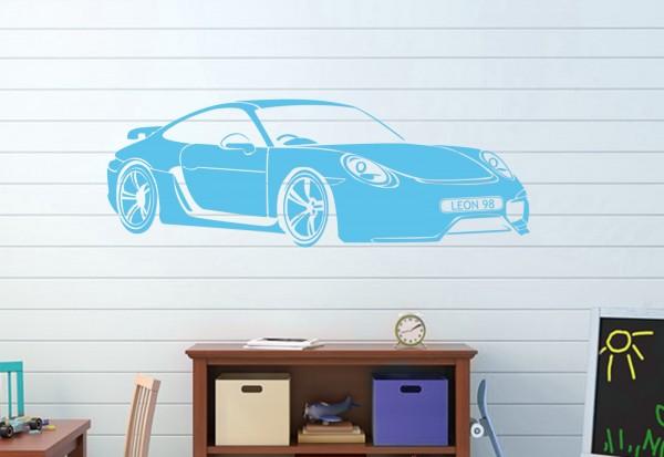 "Wunschname-Wandtattoo Kinderzimmer ""Porsche Carrera 911"""